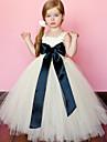 볼 드레스 발목 길이 플라워 걸 드레스 - 폴리에스테르 / 튤 민소매 스파게티 스트랩 와 허리끈 / 리본 으로