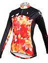 ILPALADINO Femme Manches Longues Maillot de Cyclisme - Noir / Orange. Phenix Grandes Tailles Cyclisme Maillot Hauts / Top Respirable Sechage rapide Des sports 100 % Polyester VTT Velo tout terrain