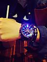 Heren Polshorloge Kwarts Silicone Zwart LED Analoog Amulet Uniek creatief horloge - Zwart / Wit Groen / zwart Zwart / Blauw Een jaar Levensduur Batterij / Roestvrij staal / SSUO 377