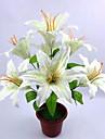 1 Gren Polyester Liljor Bordsblomma Konstgjorda blommor