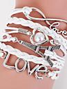 Bărbați Pentru femei Piele  Inimă Infinit Bratari din piele Bratari Wrap - Iubire plaited Multistratificat Inimă Infinit LOVE Alb Negru