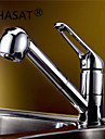 Contemporary Pull-out/Pull-down Deck Mounted Pullout Spray Ceramic Valve One Hole Single Handle One Hole Chrome, Kitchen faucet