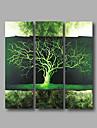 HANDMÅLAD Abstrakt Vertikal panoramautsikt, Moderna Duk Hang målad oljemålning Hem-dekoration Tre paneler