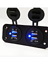 2 panou gaură Dual USB încărcător de mașină priza