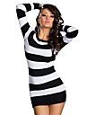 Femei sexy Stripe Mosaic Pachetul Fese Mini Party fără mâneci rochie