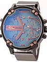 JUBAOLI Heren Kwarts Polshorloge Militair horloge Vrijetijdshorloge Dubbele tijdzones Roestvrij staal Band Amulet Zwart