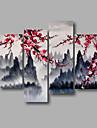 Pictat manual Abstract / Peisaj / Peisaje Abstracte Modern Patru Panouri Canava Hang-pictate pictură în ulei For Pagina de decorare