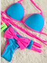 Dame Poliester Push-up Cu Susținere,Bikini Monocolor Elimina Bloc Culoare