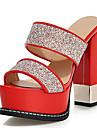 Damă Vară Platforme Pantof cu Berete Luciu Imitație de Piele Nuntă Rochie Party & Seară Toc Gros Platformă Blocați călcâiulSclipici
