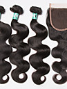 Brasilianskt hår Kroppsvågor Hår Inslag med Stängning 3 paket med stängning 12-24tum Hårförlängning av äkta hår Mjuk / 4a Svart