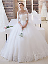 Ball Gown Illusion Neckline Floor Length Lace Over Tulle Custom Wedding Dresses with Appliques Sash / Ribbon by LAN TING Express