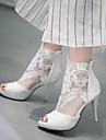 Pentru femei Fete Pantofi Imitație de Piele Primăvară Vară Toc Stilat Platformă Fermoar Flori pentru Nuntă Rochie Party & Seară Alb Negru