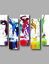 Pictat manual AbstractModern Cinci Panouri Canava Hang-pictate pictură în ulei For Pagina de decorare