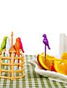 6 pcs dessin anime oiseau conception fruits fourche creative outils de cuisine decoration de la maison