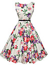 Pentru femei Ieșire Vintage Linie A Rochie - Imprimeu, Floral Lungime Genunchi Alb