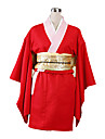Inspirado por Gintama Kagura Anime Disfraces de cosplay Trajes Cosplay / Kimono Un Color Manga Larga Yukata / Guantes / Ropa Interior Para Mujer / Satin