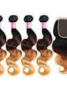 Cheveux Brésiliens Ondulation naturelle Trame cheveux avec fermeture 4 offres groupées 10-30pouce Tissages de cheveux humains Brun et
