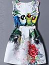 Damă Ieșire Plus Size Draguț Patinatoare Rochie-Floral Imprimeu Fără manșon Rotund Mini Poliester Vară Talie Medie Micro-elastic