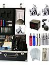 Machine a tatouer Kit de tatouage professionnel 2 x Machine a tatouer en acier pour le tracage et l\'ombrage Haute qualite LCD alimentation