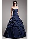 볼 드레스 끈없는 스타일 바닥 길이 태피터 포멀 이브닝 드레스 와 비즈 옆면 드레이핑 으로 TS Couture®