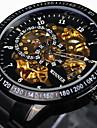 WINNER Bărbați Ceas de Mână / ceas mecanic Rezistent la Apă / Gravură scobită / Luminos Oțel inoxidabil Bandă Lux / Vintage Negru / Argint / Mecanism automat / tachymeter