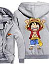 Inspirat de One Piece Monkey D. Luffy Anime Costume Cosplay hanorace Cosplay Imprimeu Manșon Lung Vârf Pentru Bărbătesc
