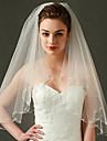 Voal de Nuntă Două Straturi Voaluri Lungi Până la Cot Margine cu Mărgele Margine dantelată Tul Ivoriu