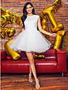 Prințesă Bijuterie Mini / Scurt Tulle / Dantelă cu Mărgele Spate Deschis Bal / Seară Formală Rochie cu Mărgele / Aplică de TS Couture®