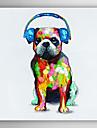 pictate manual câini de animale pictură în ulei cu cască albastră cu rama întinsă arts® 7 perete
