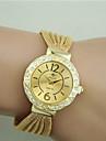 Femme Quartz Bracelet de Montre Imitation de diamant Alliage Bande Elegant Mode Noir Argent Marron Dore