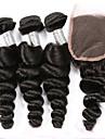 Cheveux Peruviens Ondulation Lache Trame cheveux avec fermeture 3 paquets avec fermeture 8-20pouce Tissages de cheveux humains Sans odeur