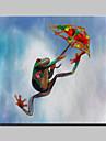 lager peint a la main abstraite parachute grenouilles peinture moderne d\'huile animale sur le mur de toile art picture frame whit