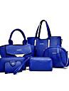 Femei Genți Toate Sezoanele PU Tote Seturi de sac pentru Cumpărături Casual Oficial Negru Mov Galben Fucsia Albastru