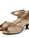 Dam Latinamerikansk Glitter Paljett Lack Syntetiskt Sandaler Sneaker Högklackade Inomhus Glitter Spänne Ihålig Snörning Veckad Krusad