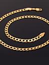 Női Nyakláncok Nyilatkozat nyakláncok Figaro lánc Darabos hölgyek Divat Dubai Arannyal bevont Sárga arany 18 ezer arany kitöltve Ezüst Aranyozott Vörös arany Nyakláncok Ékszerek Kompatibilitás