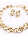 Dam Smycken Set Halsband / örhängen Pärla Oäkta pärla Guld pärla Legering Gulligt Fest Kontor Europeisk Party Dagligen Casual Örhängen