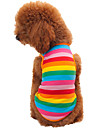 Katt Hund T-shirt Hundkläder Mode Rand Regnbåge Kostym För husdjur