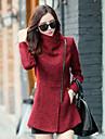 Pentru femei Stand Jachetă Șic & Modern-Culoare solidă,Stil Vintage