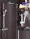 Contemporan Piesă Centrală Cascadă Împrăștiat LED Valvă Ceramică Două găuri Singur mâner două găuri Crom, Robinete de Duș