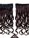 clip i syntetisk 1st 24inch 60cm hår kvinnor stor våg långt lockigt hår förlängningar # 33 färg syntetiskt hår väver