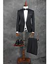 Schwarz Solide Weite Passform Polyester Anzug - Fallendes Revers Einreiher - 1 Knopf