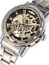 WINNER Bărbați ceas mecanic Ceas de Mână Mecanism automat Gravură scobită Oțel inoxidabil Bandă Lux Argint