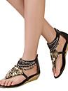 Pantofi pentru femei-Imitație de Piele-Toc Pană-Wedges / Vârf Rotund / Vârf Deschis-Sandale-Rochie-Negru / Maro