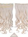 """blond syntetisk klipp i hårförlängningar 24 """"(60cm) # 60 120g långt vågigt lockigt 5clips resistent hår"""