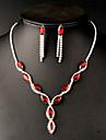 Pentru femei Seturi de bijuterii Cercei Picătură Coliere cu Pandativ Cristal Sintetic Ruby Sintetic Emerald Ștras de Mireasă Elegant