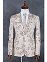 Champagne Moenster Standard Polyester Dress - Med hakk Enkelt Brystet To-knapp