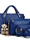 Dam Väskor PU Bärkasse Fodral 4 st handväska för Shopping Casual Formell Kontor & Karriär Alla årstider Fuchsia Gul Röd Blå Ljusbrun