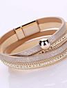 Pentru femei Brățări cu Lanț & Legături Bratari Wrap La modă Confecționat Manual Multistratificat costum de bijuterii Piele  Ștras