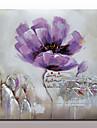 HANDMÅLAD Blommig/Botanisk Fyrkantig, Moderna Duk Hang målad oljemålning Hem-dekoration En panel
