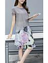 Femei Casul/Zilnic / Plus Size Simplu(ă) Șifon Rochie-Floral Manșon scurt Rotund Lungime Genunchi Roșu / Gri Poliester Vară